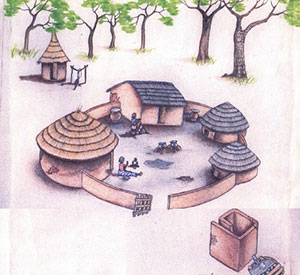 Drawing of a Ghanain village