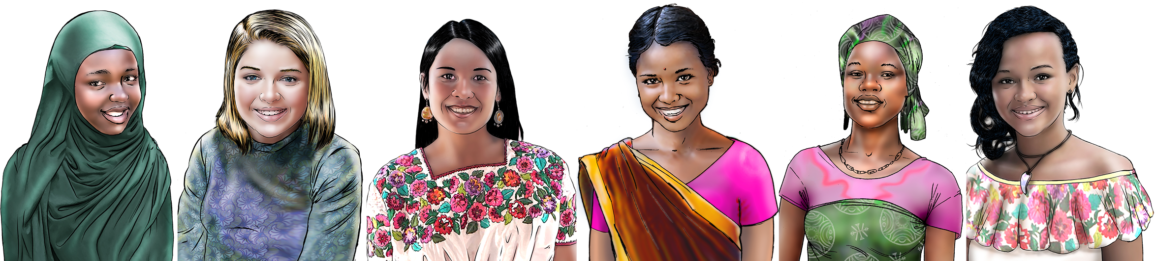 Illustration of smiling adolescent girls in a row.