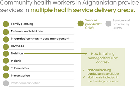 Community health workers in Afghanistan provide services in multiple health service delivery areas.