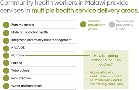 Community health workers in Malawi provide services in multiple health service delivery areas.