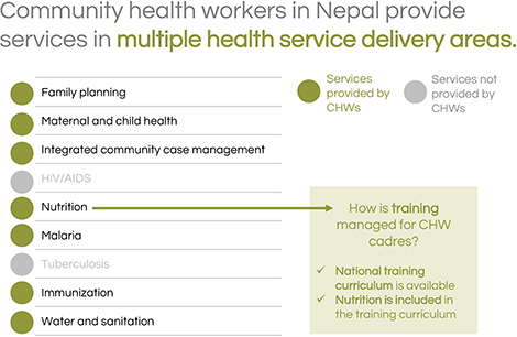 Community health workers in Nepal provide services in multiple health service delivery areas.
