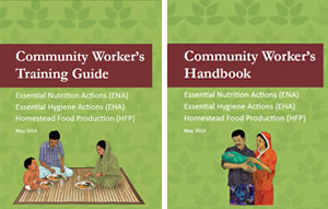 Cover pages of the Community Health Worker Training Guide and Handbook