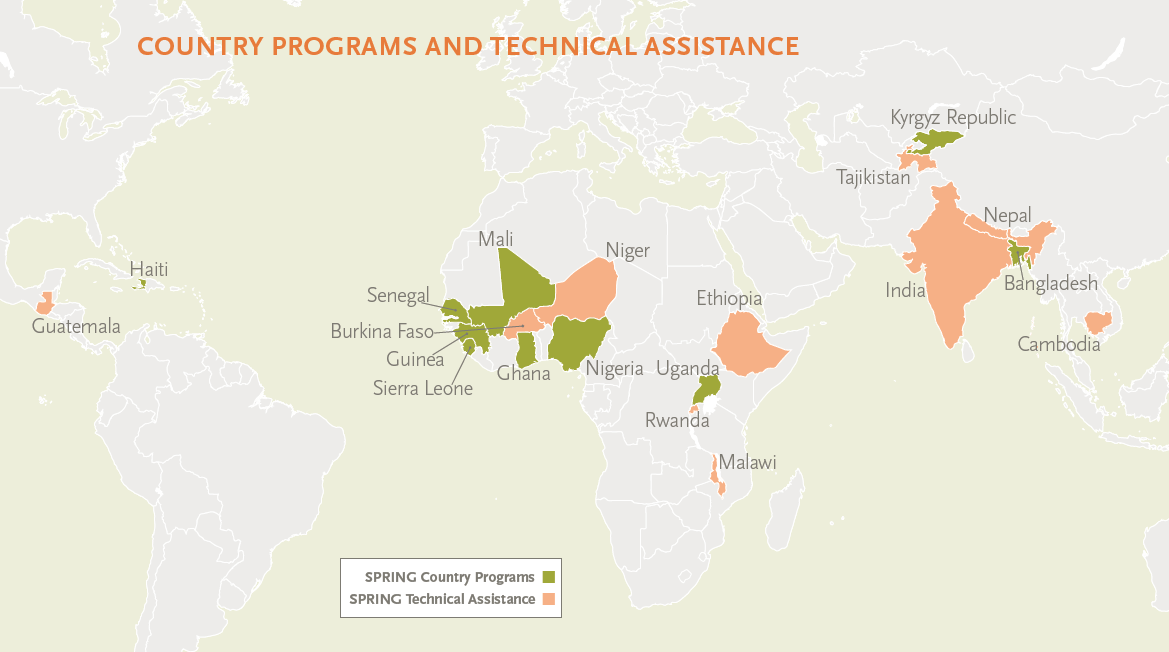 World map showing locations of SPRING Country Programs and SPRING Technical Assistance.