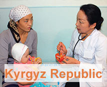 A doctor consults with a woman and her child in the Kyrgyz Republic.