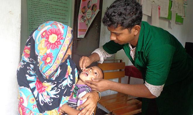 A child receives a vitamin A supplement