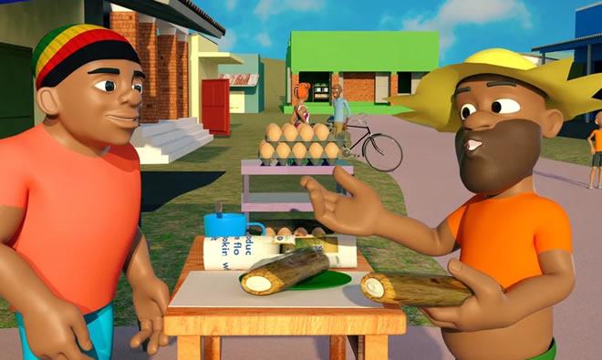 Katoto talking to a market vendor.