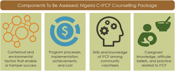 Diagram showing Components To Be Assessed: Nigeria C-IYCF Counselling Package.