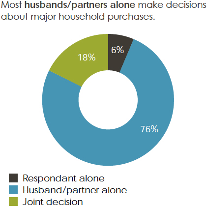 Percentage of women that agreed or disagreed: Most husbands/partners alone make decisions about major household purchases.