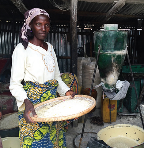 Photo of a women working inside a rice and grain mill.