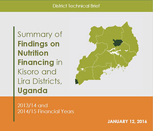 Summary of Findings on Nutrition Financing in Kisoro and Lira Districts,Uganda front page