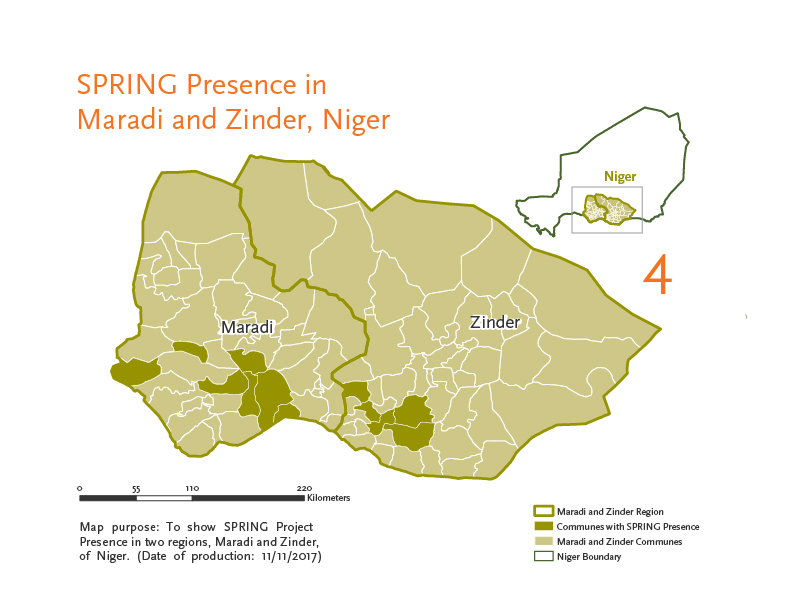 "Map of Niger showing ""SPRING Presence in Maradi and Zinder, Niger."" Map indicates seven communes with SPRING presence in Maradi, and five communes with SPRING presence in Zinder."