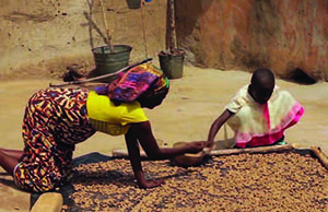 Photo of a woman and child sorting and drying groundnuts.