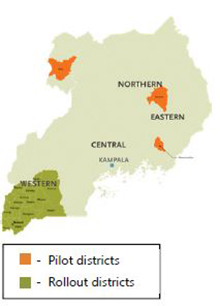 Map of Uganda showing pilot districts and rollout districts for the Disrict Assessment Tool for Anemia (DATA), which was developed by SPRING to help district personnel better understand anemia, analyze its primary causes, and prioritize activities to address anemia in their district.