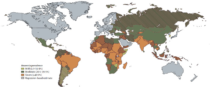 Figure 2. Prevalence of Anemia in Developing Countries