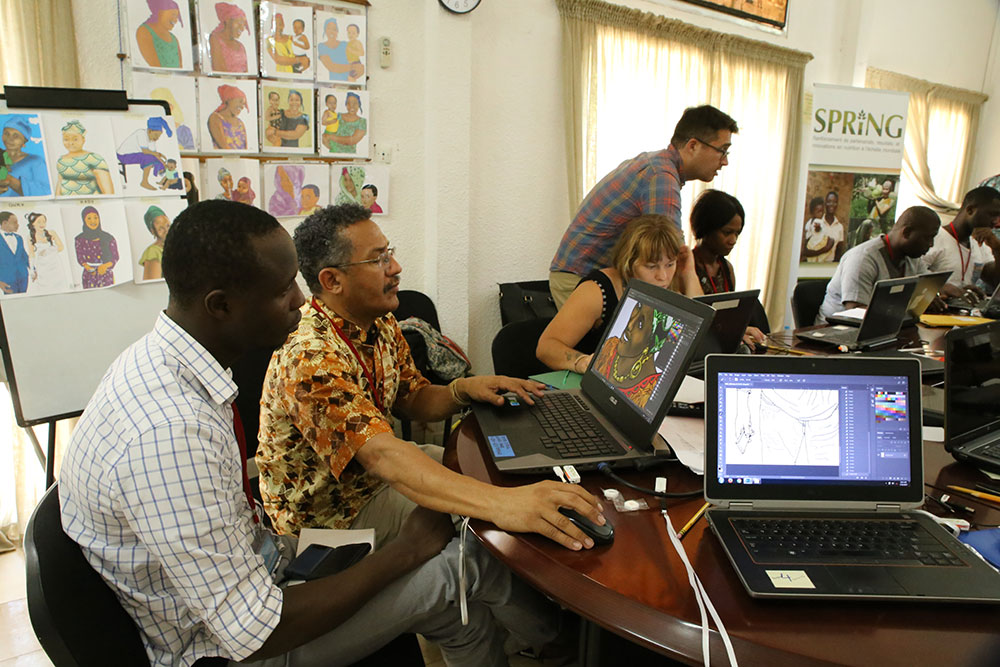 UNICEF's C4D Officer Miracle Korkalo Saoromou (foreground) and CRS' Head of Programs Amy Daffé (background).