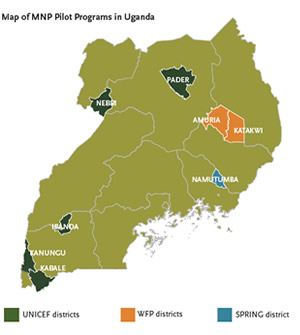 Map of MNP Pilot Programs in Uganda. SPRING piloted in Namutumba District