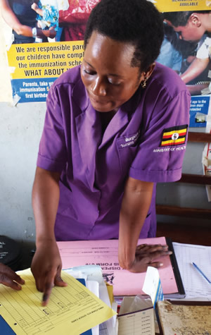 A health worker explains the use of the MNP stock card (photo credit: Alexis D'Agostino, SPRING).