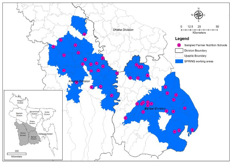 Map of Sampled farmer nutrition schools in the SPRING Implementation Area. The SPRING working areas are largely in the Barishal Division and the Khulna Division.