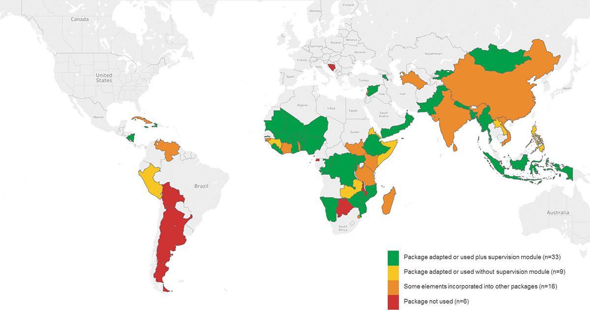 Map showing uptake of UNICEF's generic counselling cards
