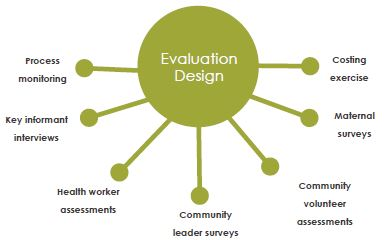 Figure with branches connecting the various aspects of evaluation design.
