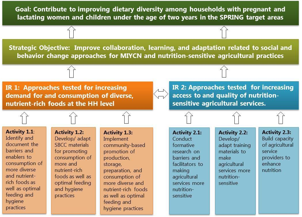 "Figure 1: Results Framework. The Results Framework highlights the goal, ""Contribute to improving dietary diversity among households with pregnant and lactating women and children under the age of two years in the SPRING target areas"" and strategic objective, ""Improve collaboration, learning, and adaptation related to social and behavior change approaches for MIYCN and nutrition-sensitive agricultural practices."""