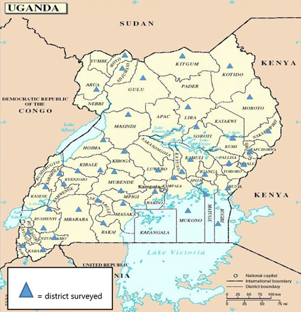 This is a map of Uganda with districts surveyed marked