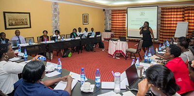 "Photo of a woman giving a presentation in front of a group of people in a conference room. Caption: ""Sarah Ngalombi, Senior Nutritionist with the Ministry of Health, speaks before the National Anemia Working Group."""