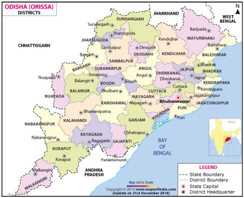 Figure 2: Map of Odisha's districts
