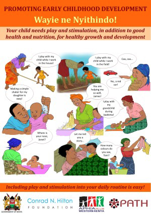 Poster graphic Promoting Early Childhood Development, Wayie ne Nyithindo!