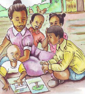 Illustration of children gathered outside looking at pictures