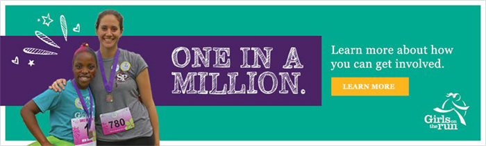 One in a Million banner with a picture of a woman and girl and Girls on the Run logo