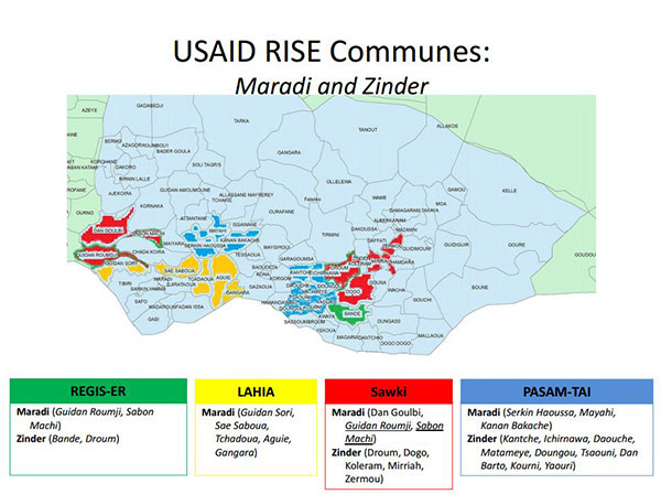 Map of USAID RISE communes in Maradi and Zinder - 4 with REGIS-ER, 6 with LAHIA, 7 with Sawki, and 12 with PASAM-TAI