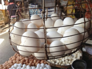 Photo of eggs in a basket at a market.