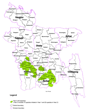 SPRING intervention areas in Bangladesh