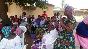 Support group members meet to discuss nutrition best practices in Sab-Chem community, Jaba LGA, Kaduna state, May 2015.