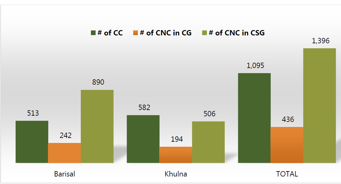Bar chart showing # fo CC, # of CNC in CG and #  of CNC in CSG. In Barisal, CC is 513, CNC in CG is 242 and CNC in CSG is 890. In Khulna, CC is 582, CNC in CG is 194 and CNC in CSG is 506. Total, CC is 1,095, CNC in CG is 436 and CNC in CSG is 1,396.