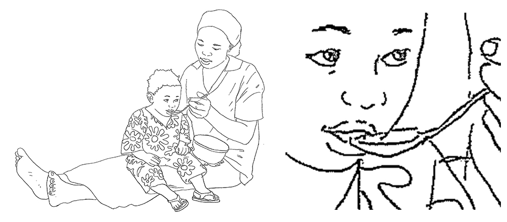 "On the left, a light pencil drawing of a mother feeding her child with a spoon. On the right, a closeup of the child's face. Caption: ""This is a completed pencil drawing. Note how the lines are a bit grainy."""