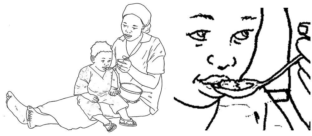 "On the left, a darker pencil drawing of a mother feeding her child with a spoon. On the right, a closeup of the child's face. Caption: ""Tracing the image over in pencil results in stronger, more uniform lines."""