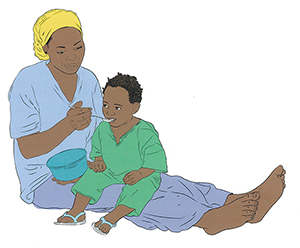 "A color illustration of a mother feeding her child with a spoon. Caption: ""Color brings the illustration to life."""