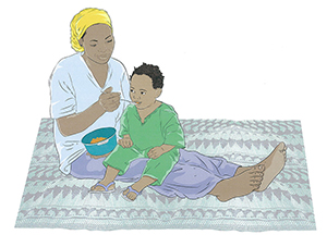 "A light color illustration of a mother feeding her child with a spoon. Caption: ""Some volume has been added to the clothes of the subjects."""