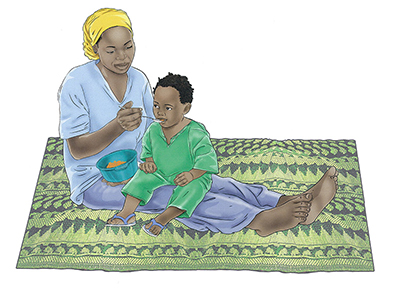"A darker color illustration of a mother feeding her child with a spoon. Caption: ""Volume has been added to the skin of the subjects. Lights and shadows add depth to the image and bring it to life."""