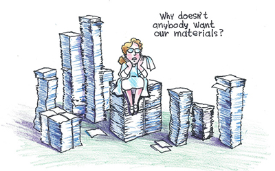 The exaggerated idea of stacks of materials is best served by a cartoon style.
