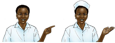 "Illustration of a nurse without a hat, on the left, and with a hat, on the right. Caption: ""This illustration has a layer for the nurse's hat and two layers for her hand. It is easy to toggle layers on and off to change the nurse's appearance and position."""