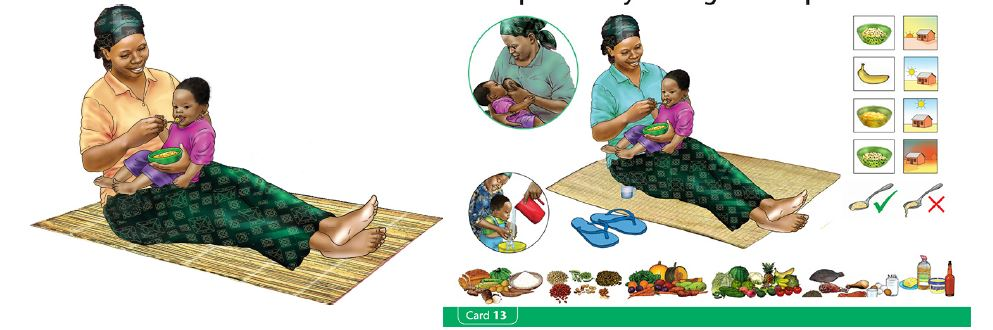 "Illustrations of a mother feeding her child with a spoon, breastfeeding, giving her child a drink of water, and different kinds of food. Caption: ""Completed illustrations (at left) must be laid out into completed SBC materials (e.g. a counseling card, at right). A graphic designer who specializes in layout will ensure that the key messages of the program are captured, and can ensure consistency in a series of SBC materials."""