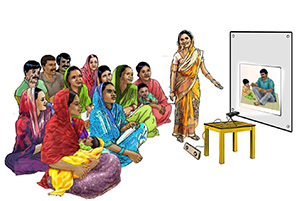 Cover illustration: a woman giving a slide show/power point demonstration to a group of mothers and fathers with their children