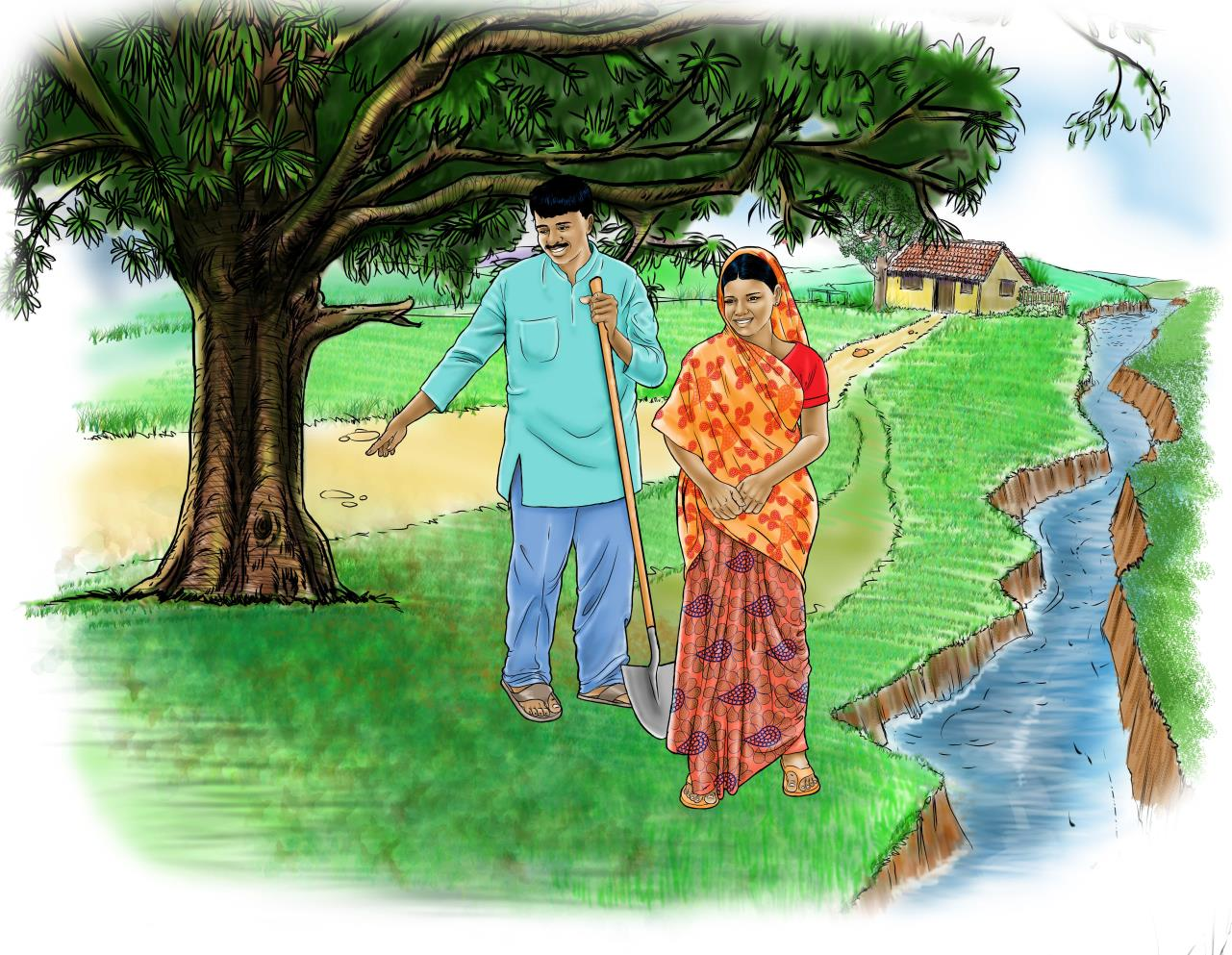 Illustrated image of a man and woman walking near a stream.
