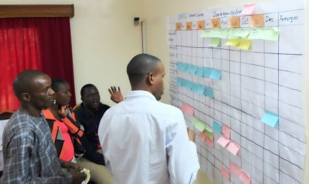 Groups worked together to complete a seasonal calendar identifying practices within their given agroecological zone.
