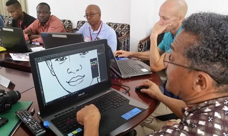 Victor Nolasco leads a demonstration of refining a line drawing in Adobe Photoshop.