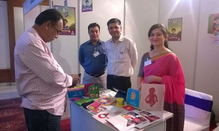 The team participated in a half-day project launch of Digital Platforms to Scale Gender-Sensitive Nutrition: SBCC, hosted by the Jharkhand Nutrition Mission and DG. As part of a panel discussion, Ms. Koniz-Booher presented SPRING's experience integrating nutrition SBCC into DG's mediated video platform. This photo shows the event's idea marketplace, where experts featured innovations for furthering SBCC within nutrition and gender programming.