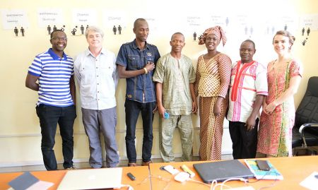 In April 2017, SPRING conducted a nutrition-sensitive agriculture training in Kindia, Guinea, with staff from Feed the Future's SMARTE program. (Left to right): Elhadj Diallo, AVENIR Program Manager; Dr. John Russell, SPRING nutrition-sensitive agriculture consultant; Balde Mdou Saliou, Nutrition Specialist; Souare Mamdou Lamarana, Osez Innover Instructor; Ramatoulaye Sow Diallo, Gender Specialist; Jean Oumar Diallo, AVENIR Program Coordinator; and Sarah Hogan, SPRING Project Officer.